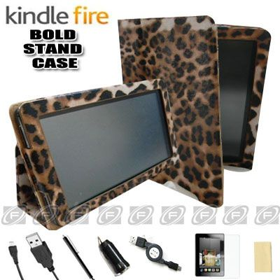 Leopard Kindle Fire Folio Case Cover/Car Charger/USB Cable/Stylus