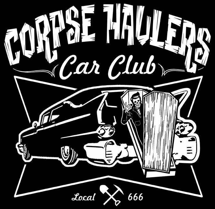 CORPSE HAULER HEARSE Rockabilly hot rat rod work shirt