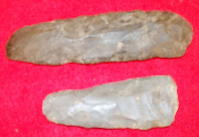 Old Indian artifacts flint celts Indiana relic primitive spear point