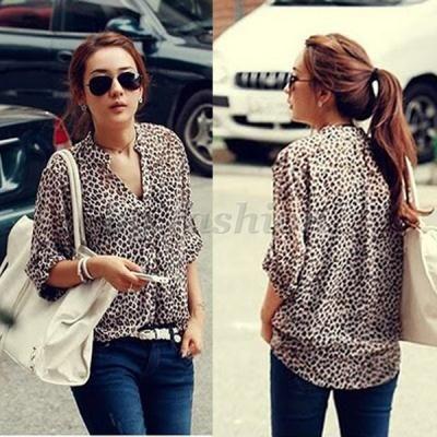 Leopard print Shirt Long Sleeve Button Down Blouse Chiffon Tops
