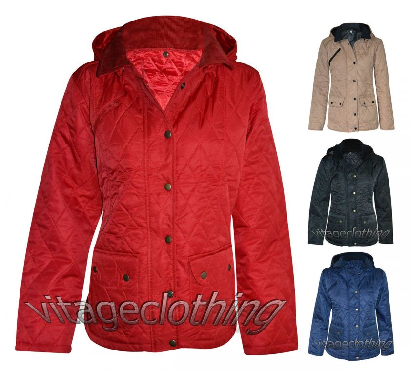 New womens quilted hoody jacket ladies button hood hooded coat Size S