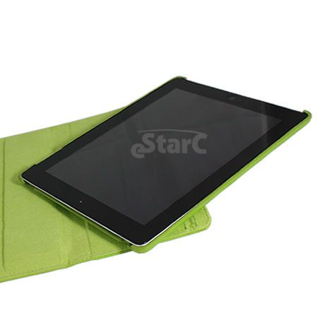 Lime Green iPad 2 Magnetic Smart Cover Leather Case Rotating 360 Stand