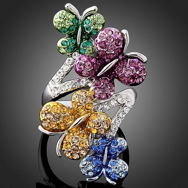 Arinna Swarovski Crystals Butterfly Gold GP finger Ring