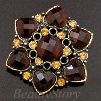 1pc antiqued rhinestone crystal flower brooch pin