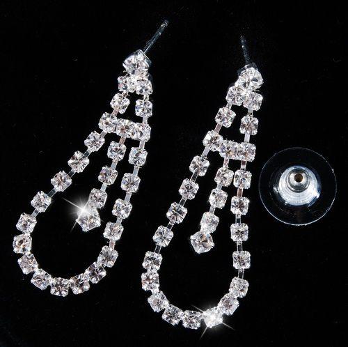 Rhinestone Crystal Clear Bridal Wedding Necklace Earrings 1set