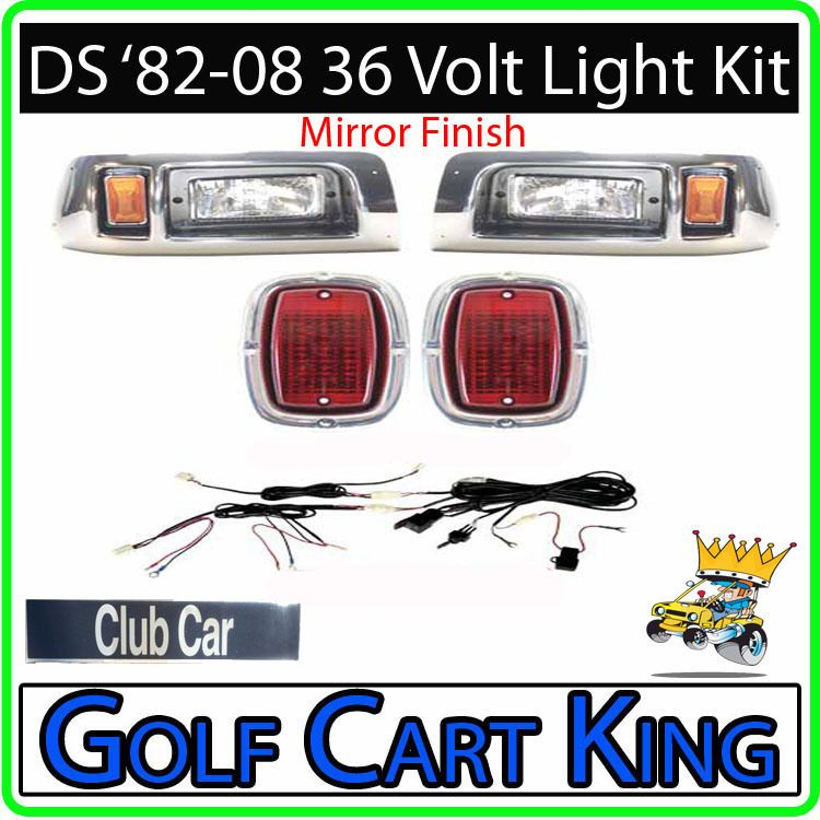 Mirror Finish Club Car Golf Cart Headlight   Light Kit