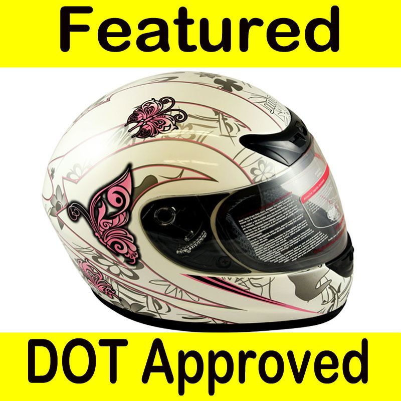 Motorcycle Full Face Sports Bike Helmet White PINK BUTTERFLY DOT Size